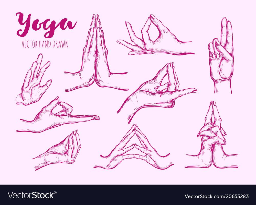 Hand drawn set of mudras