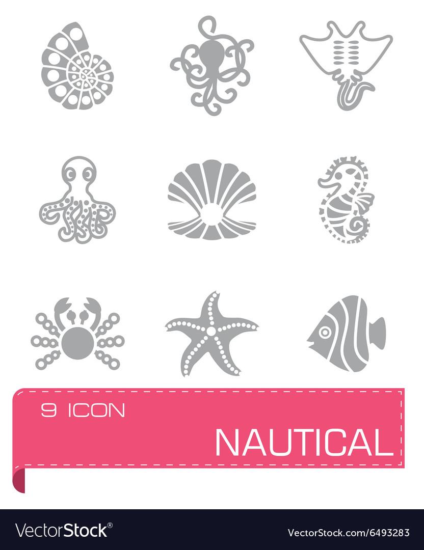 Marine life icon set vector image