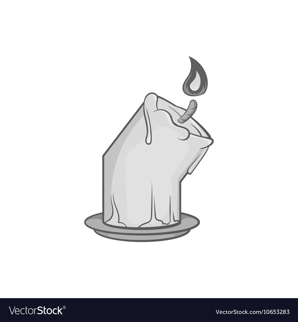 Melting candle icon black monochrome style