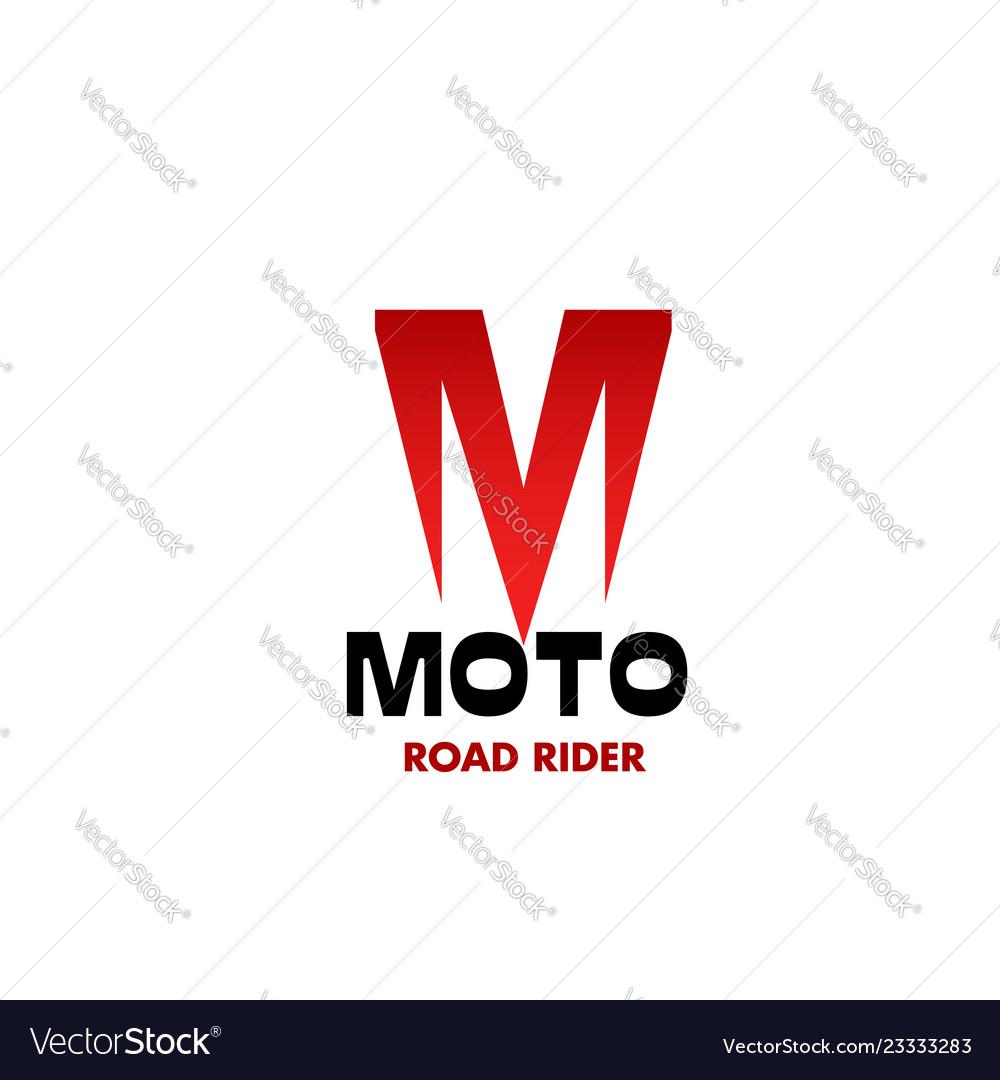 Moto road rider emblem