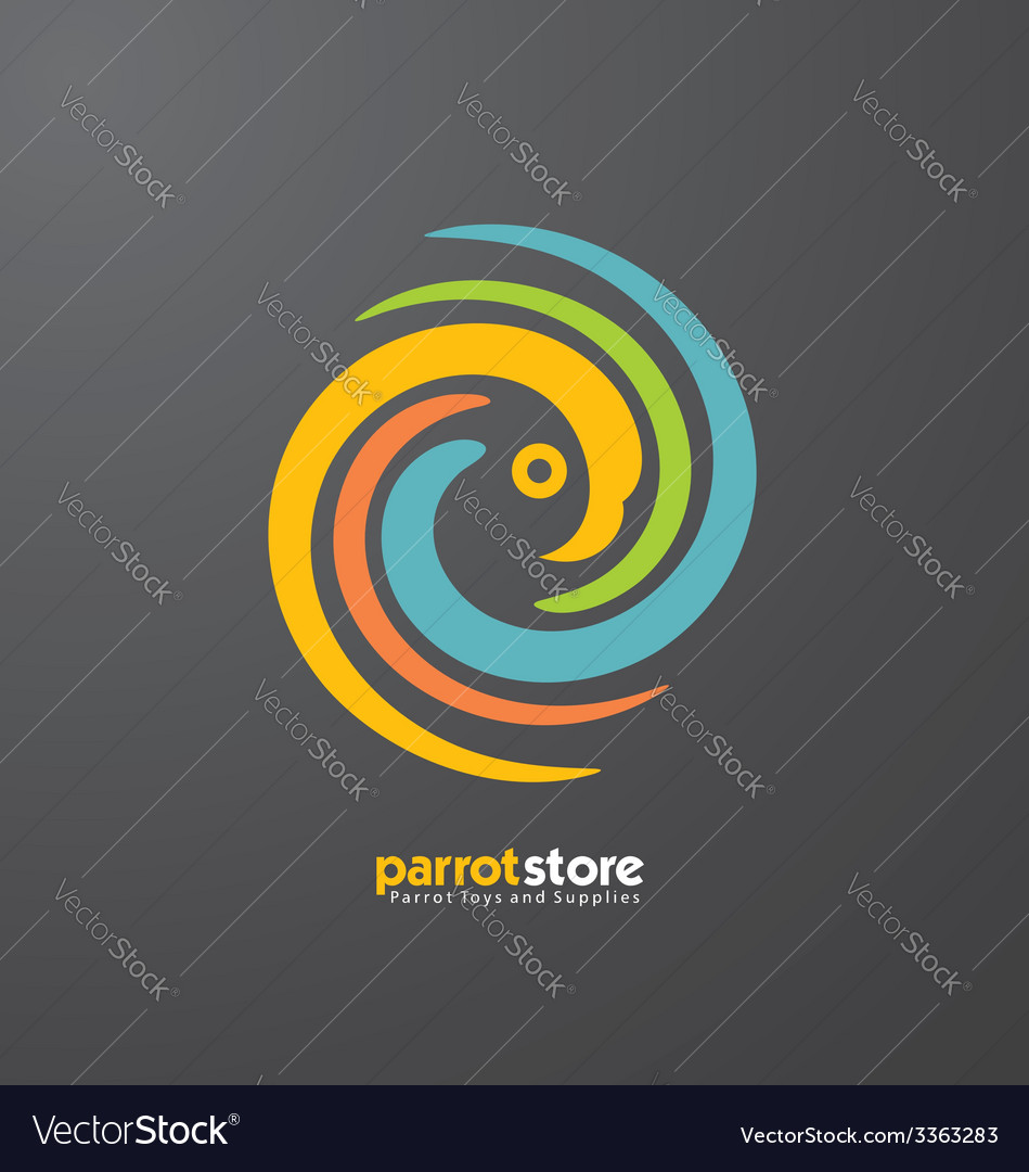 Parrot abstract logo design template vector image