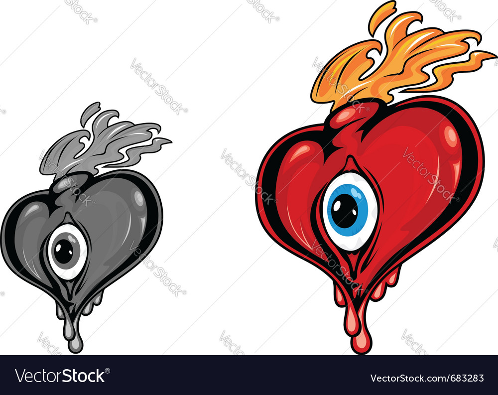 Retro heart with eye tattoo