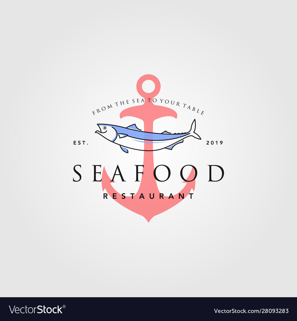 Seafood logo vintage hipster anchor label badge