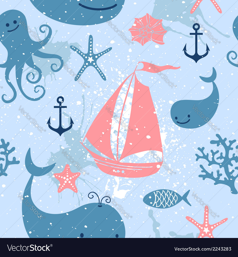 Seamless pattern with cute whales sailing