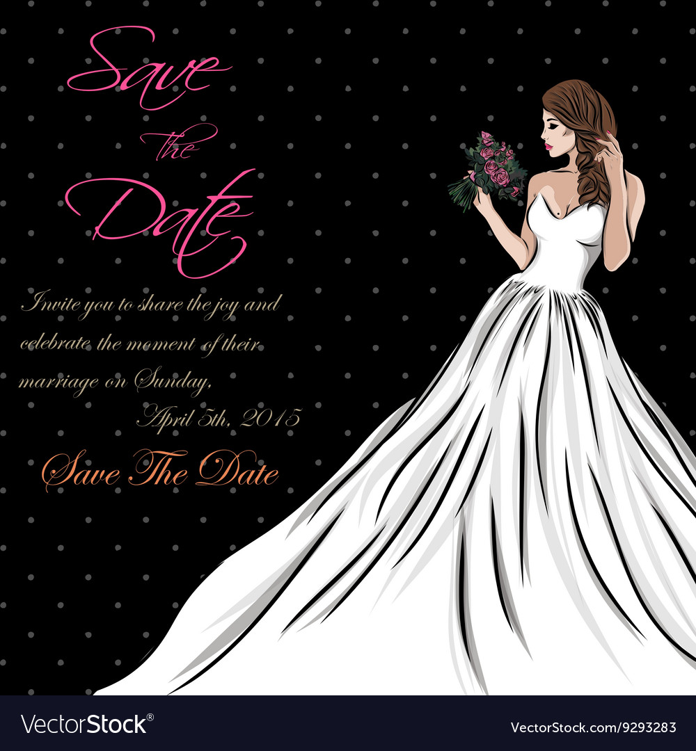 Wedding invitation card suite with bride and