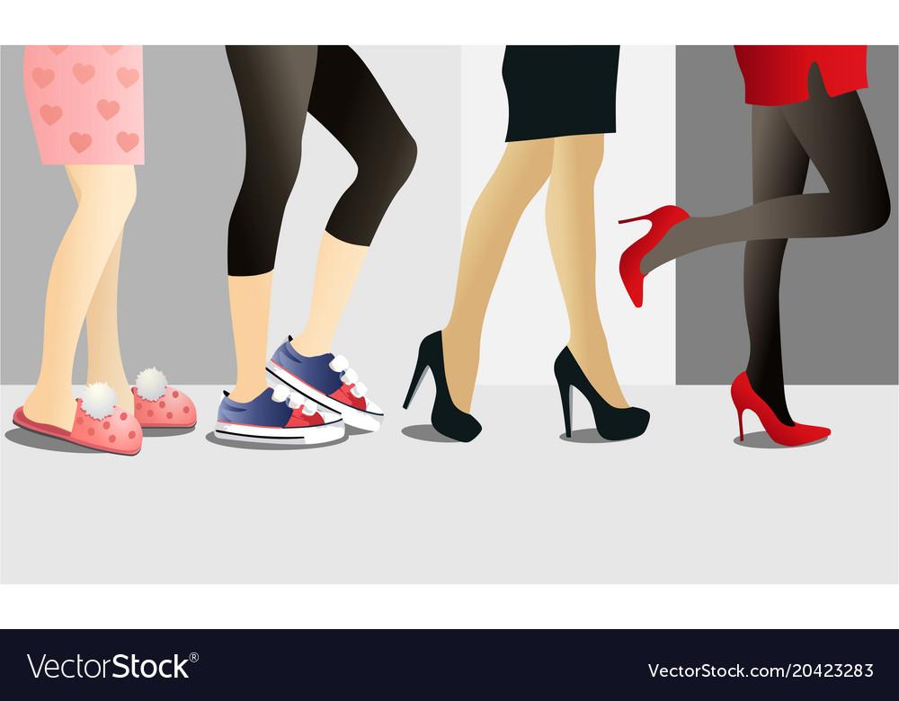 Woman legs in shoes