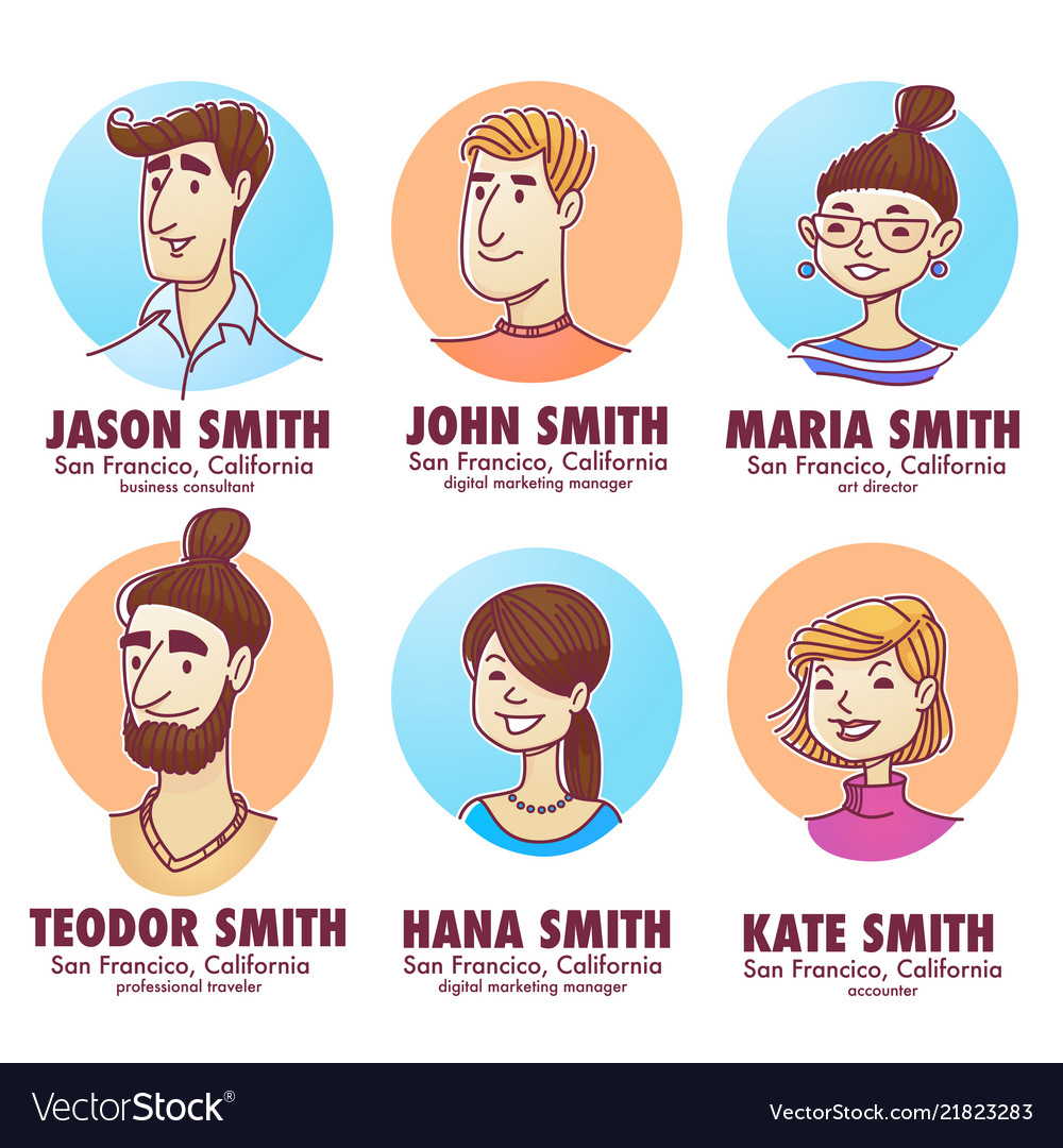Young professionals doodle people avatars