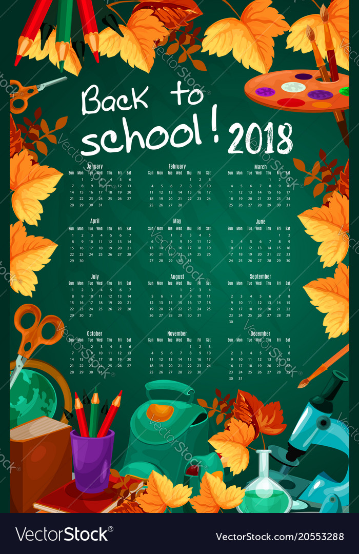 back to school autumn stationery calendar vector image