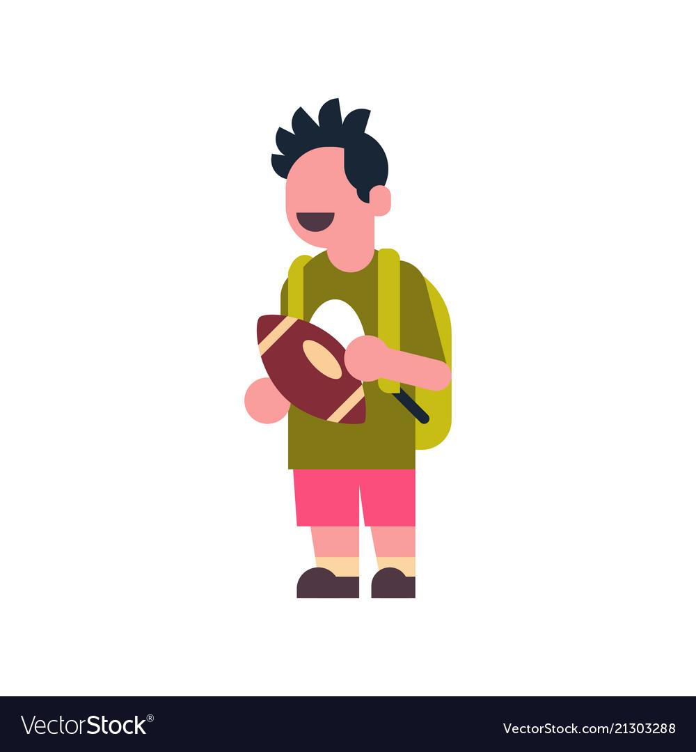 Boy american football backpack school children