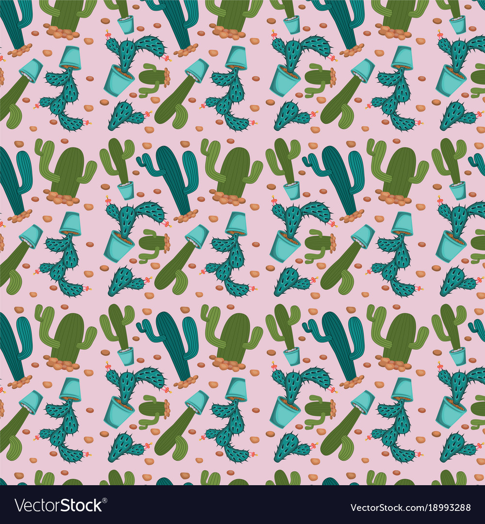 Cactus plant pattern in pink background vector image