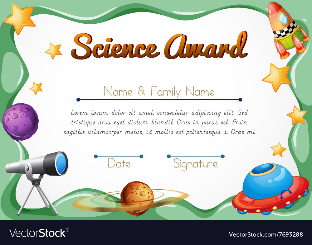 certification template for science award vector image