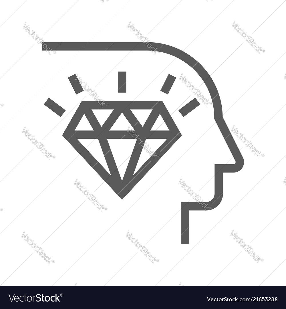 Corporate management line icon diamond mind