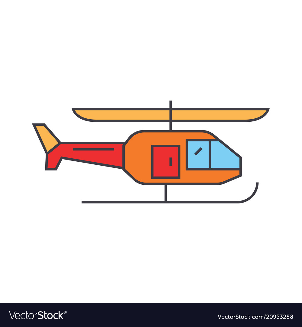 Helicopter line icon concept helicopter flat