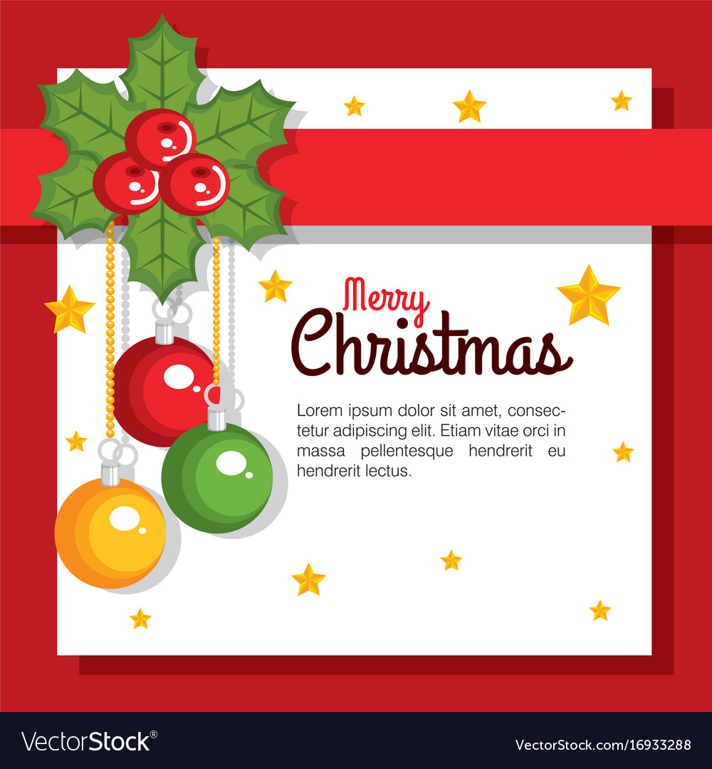 Merry christmas card greeting balls hang flower Vector Image