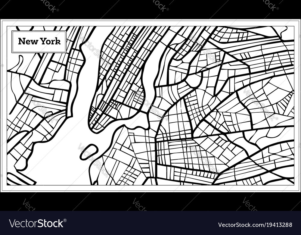 New York Map Black And White.New York Usa Map In Black And White Color Vector Image
