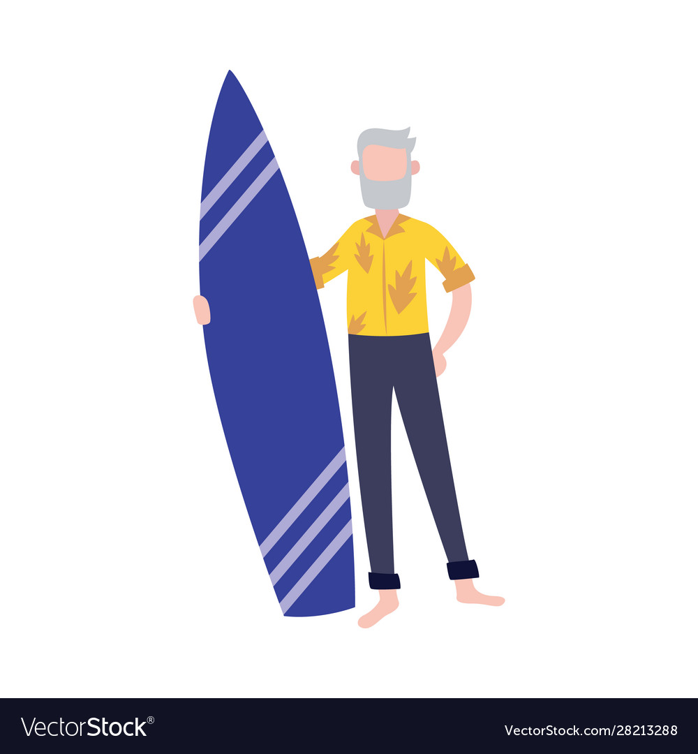 Old man in stylish tropical outfit holding surfing