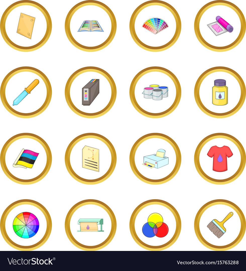 Print process icons circle vector image