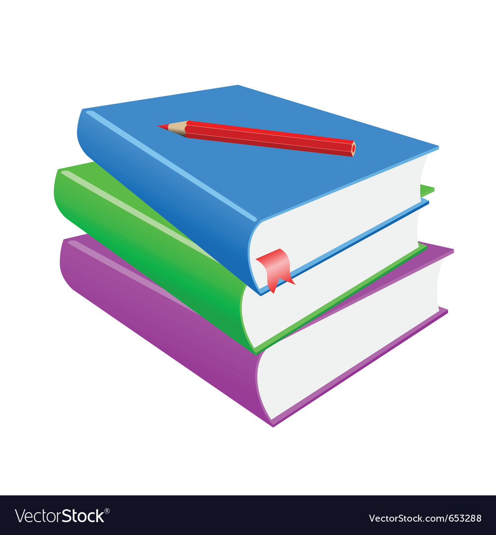 Red pencil and books on a white background vector image