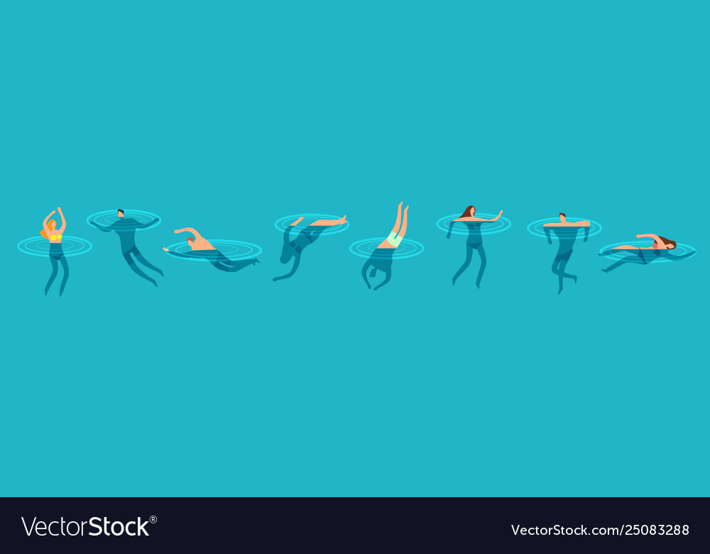 Swimming and diving people in ocean cartoon