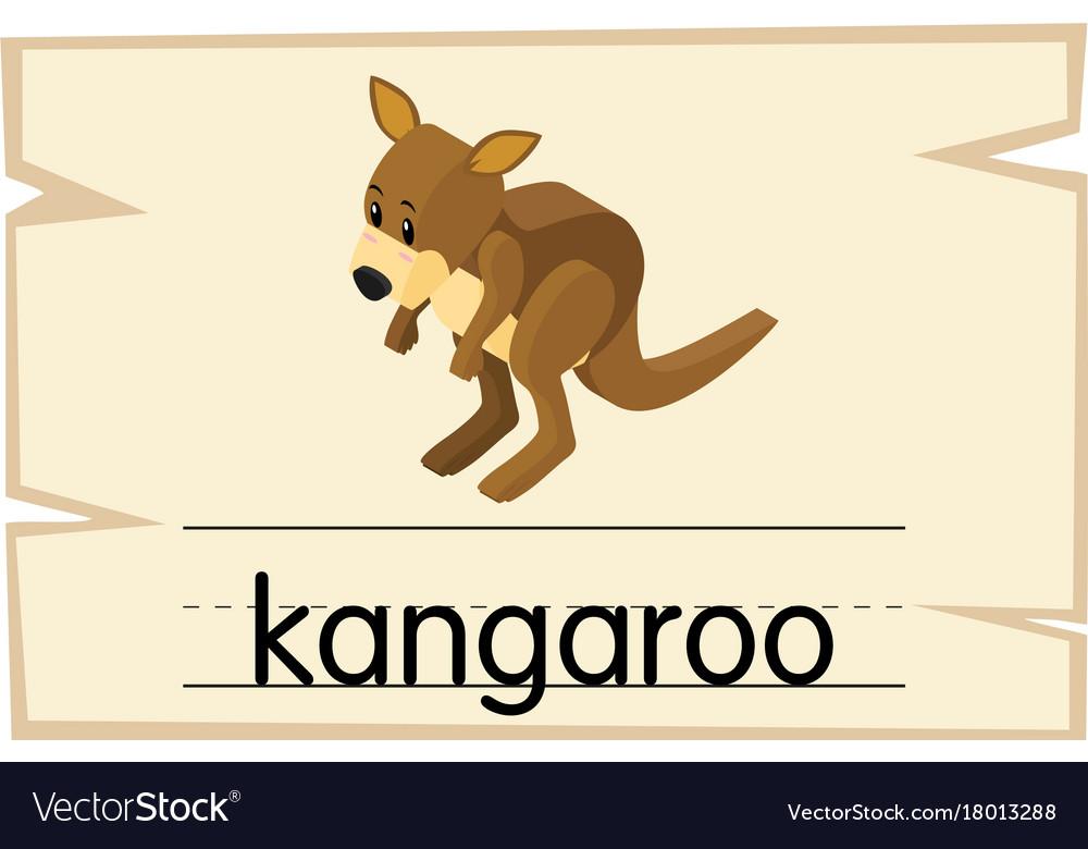 wordcard template for word kangaroo royalty free vector