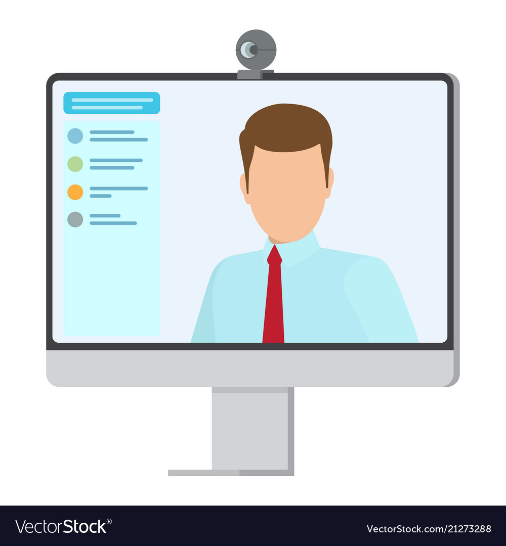 Working Computer With Small Web Camera Poster Vector Image Of A