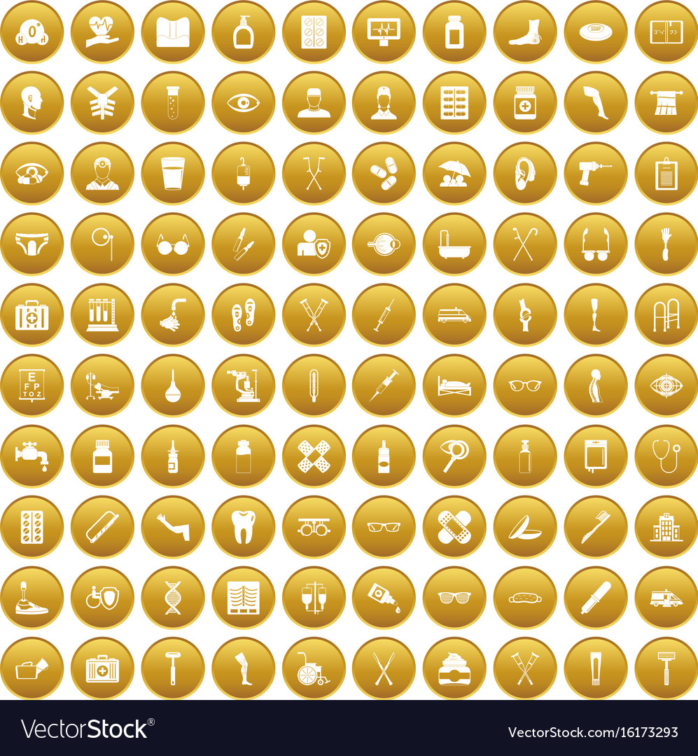 100 disabled healthcare icons set gold vector image
