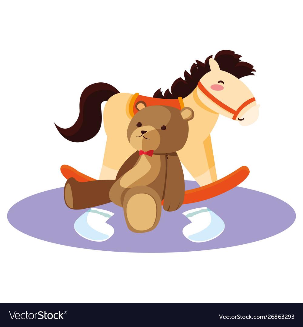 Batoy Rocking Horse And Bear Royalty Free Vector Image