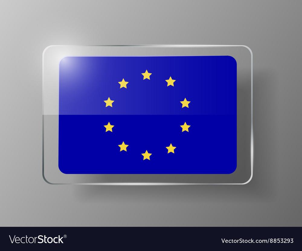 European union flag glossy button