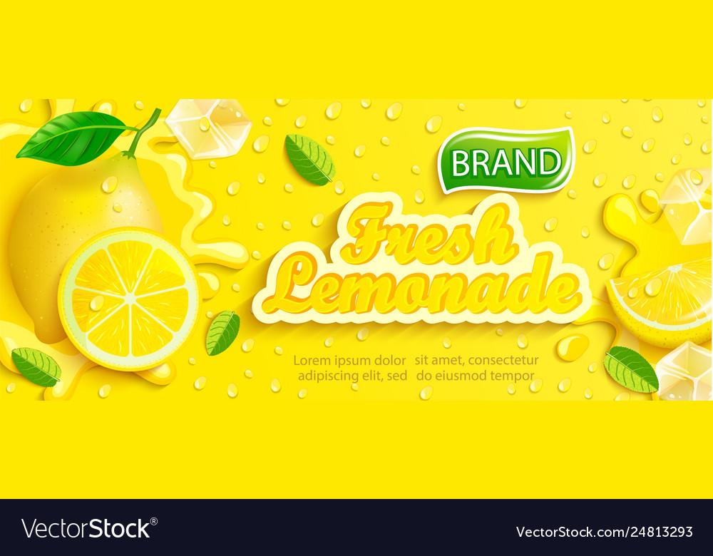 Fresh lemonade banner with lemon splash banner
