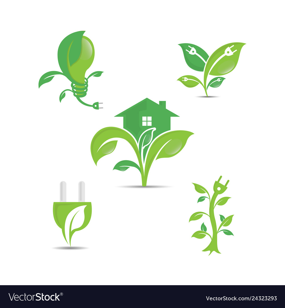 Green ecology logo icons