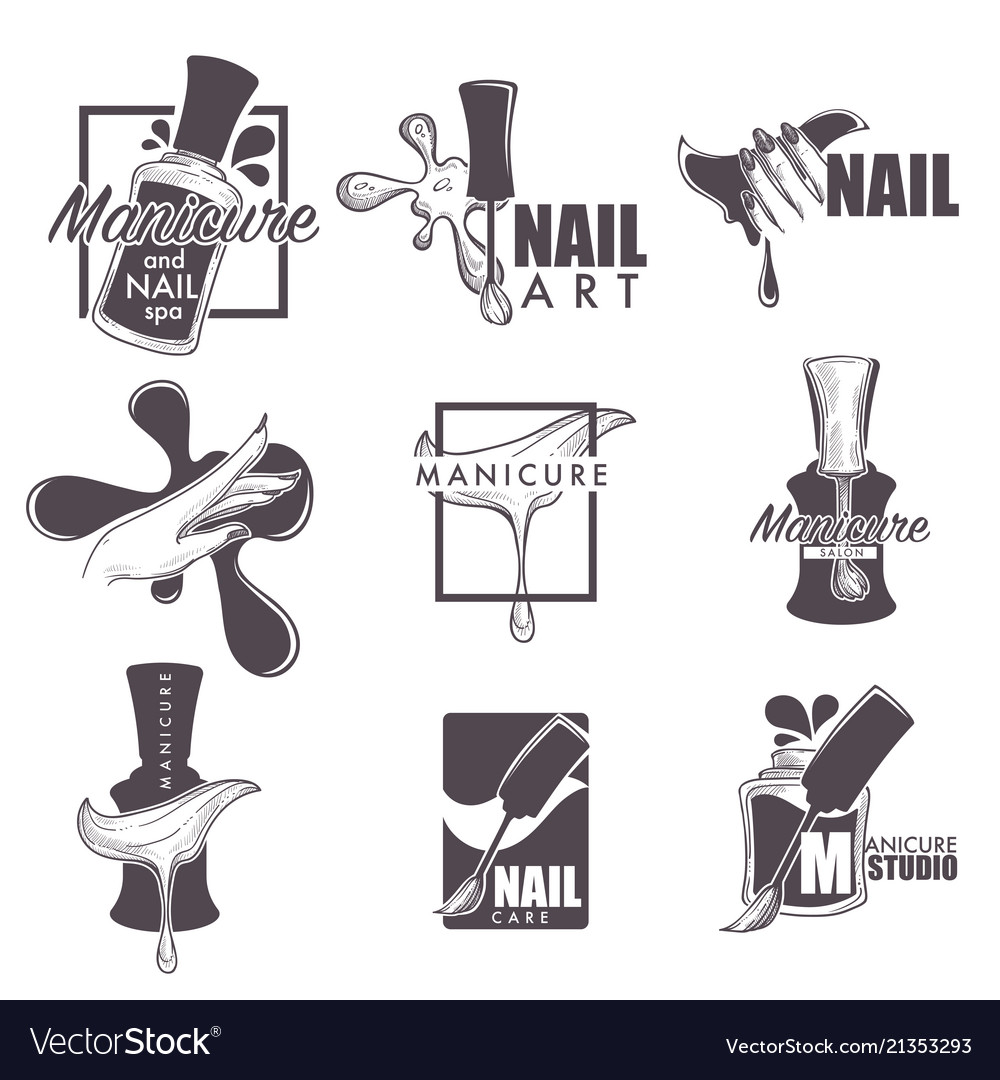 Manicure and nail spa sketch icons