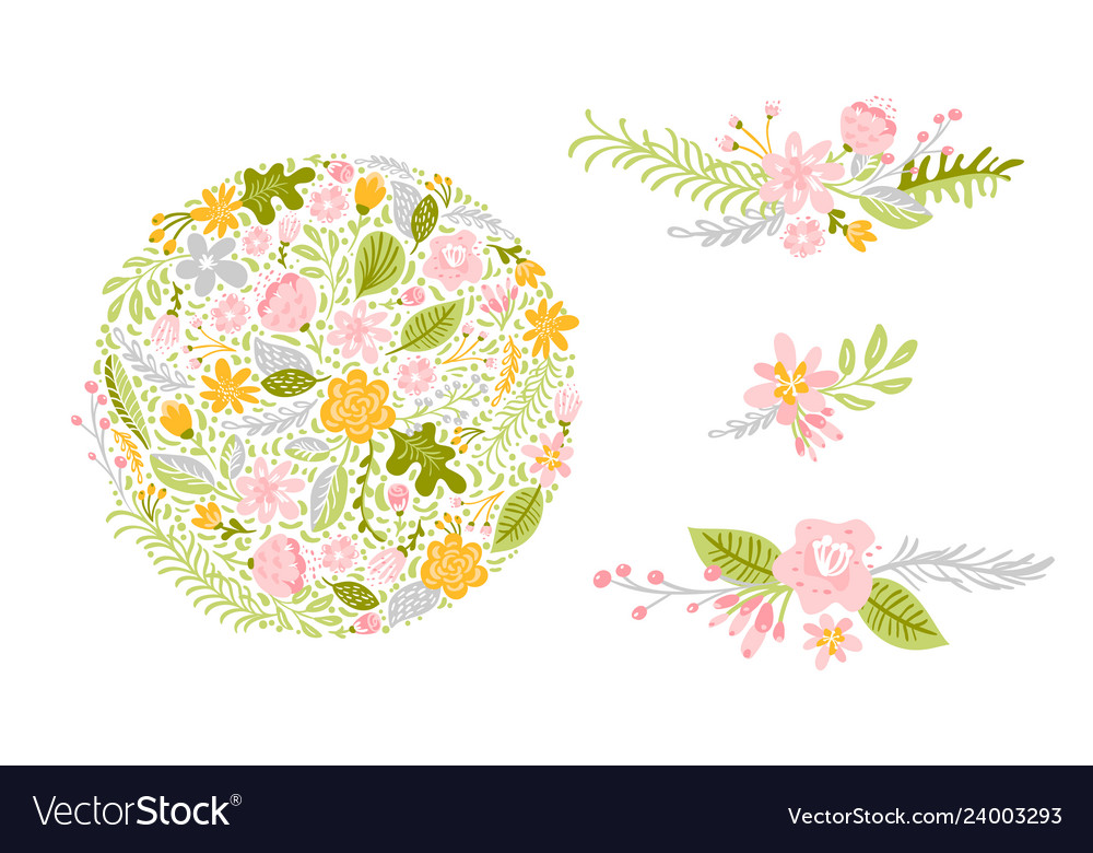 Set of flower in pastel colors isolated