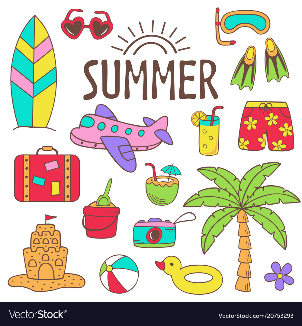 Set of isolated summer icon part 2
