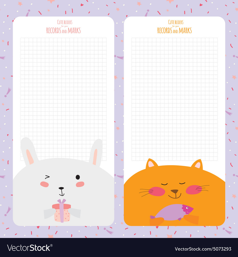Template For School Notebook Diary And Organizers Vector Image