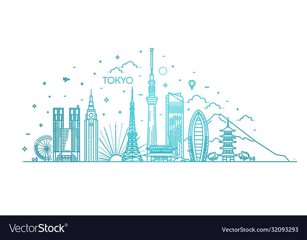 Tokyo vacation icons set icons set