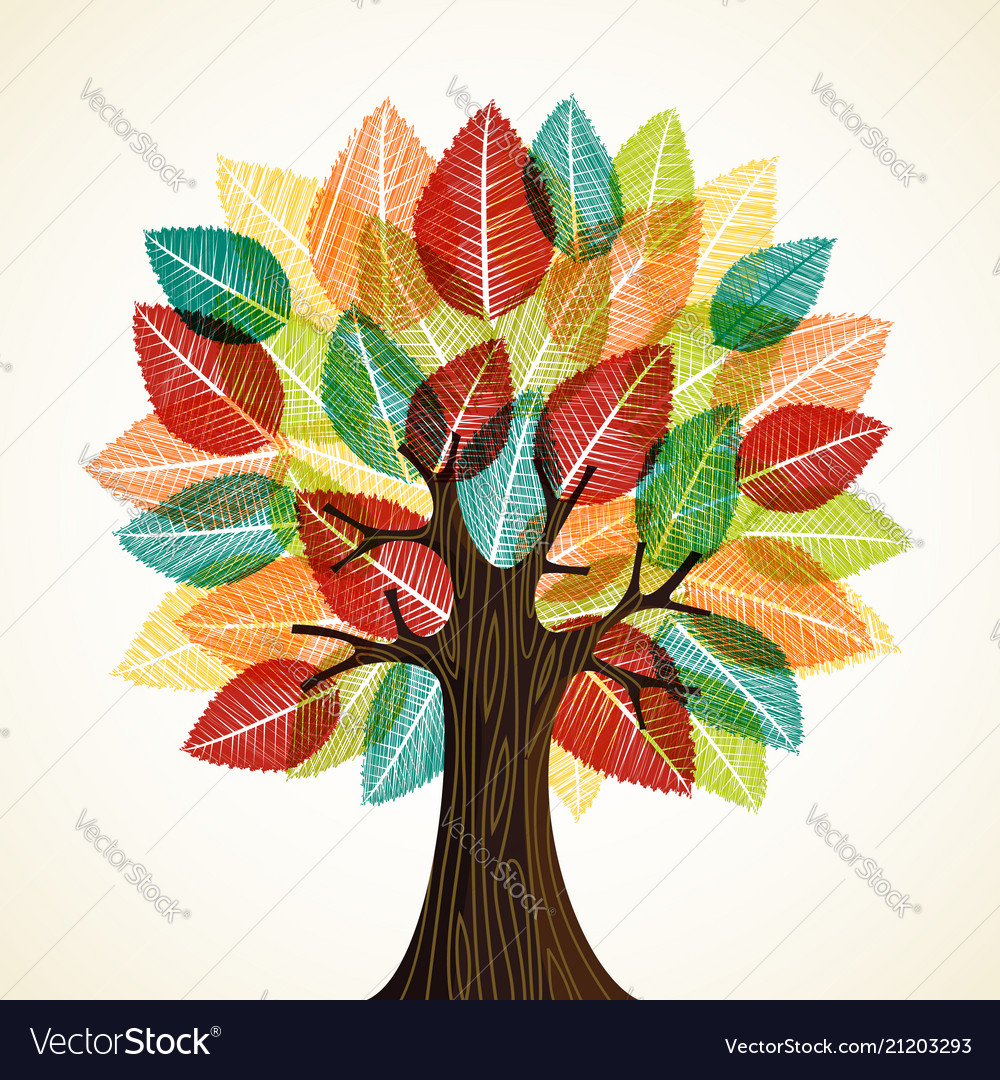 Tree with autumn leaves for nature concept
