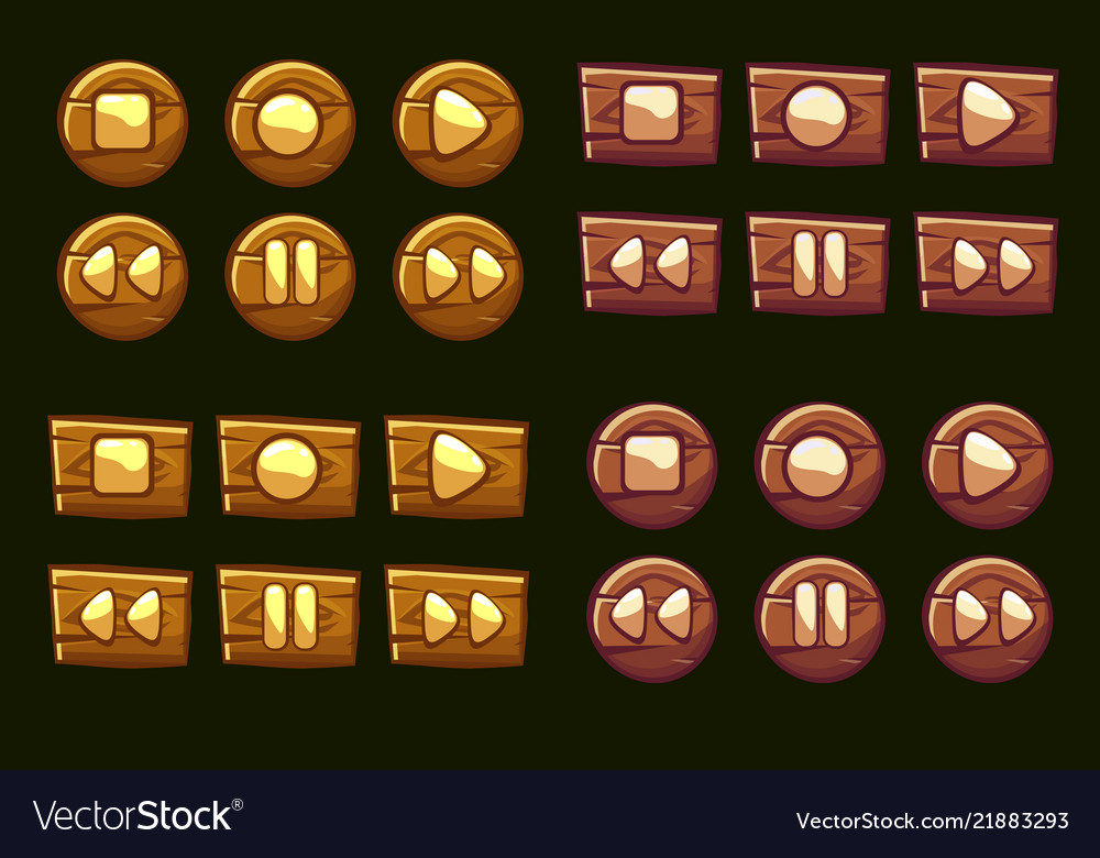 Wooden audio buttons icons of