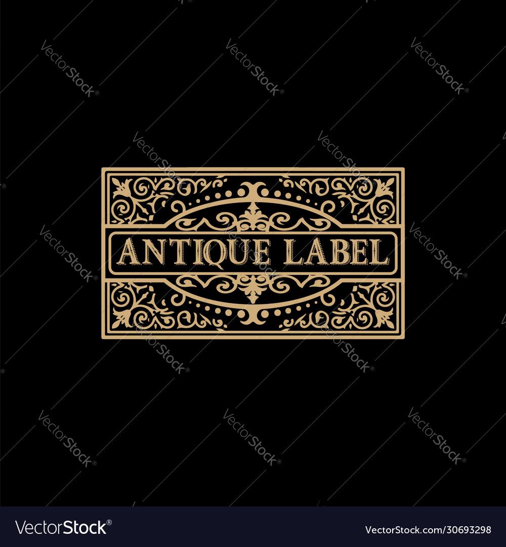 Antique label with floral details
