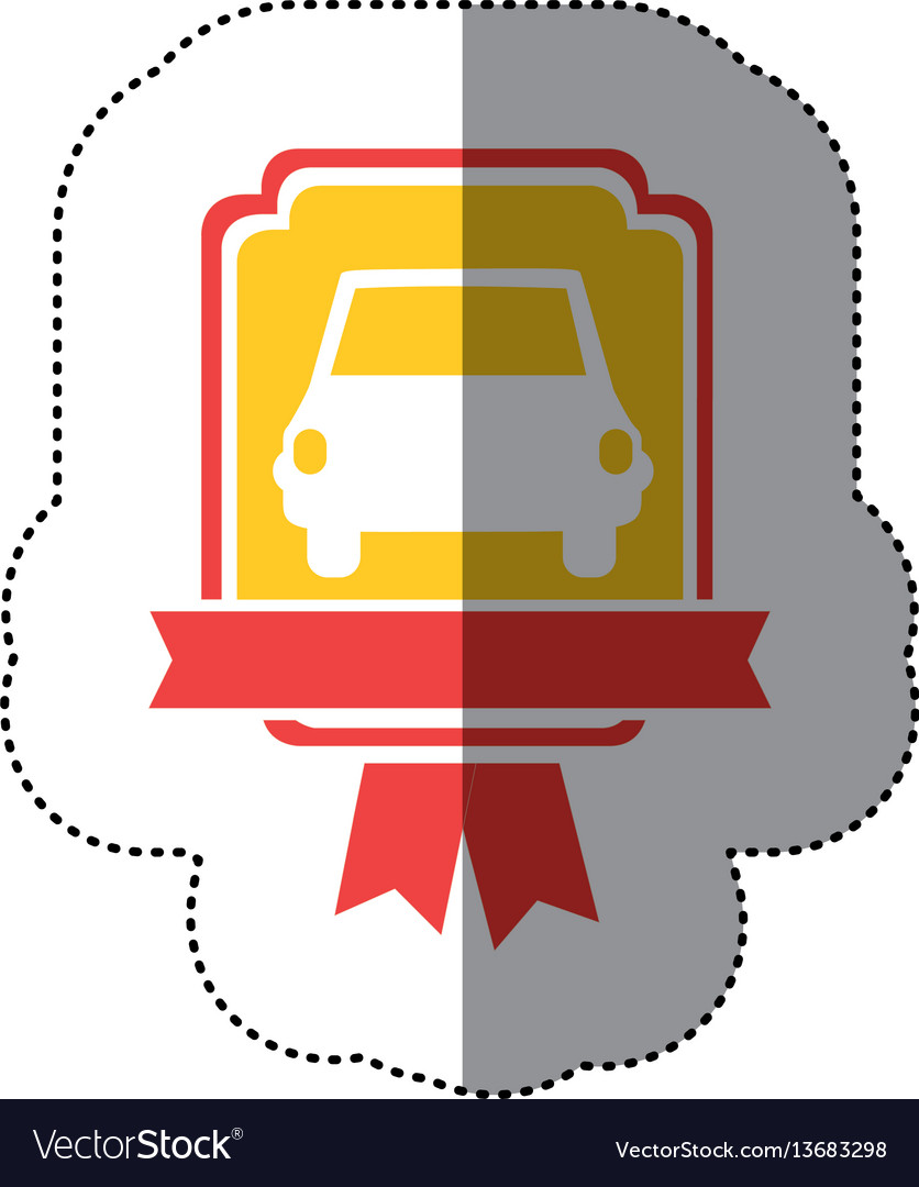 Automobile front in yellow background and red