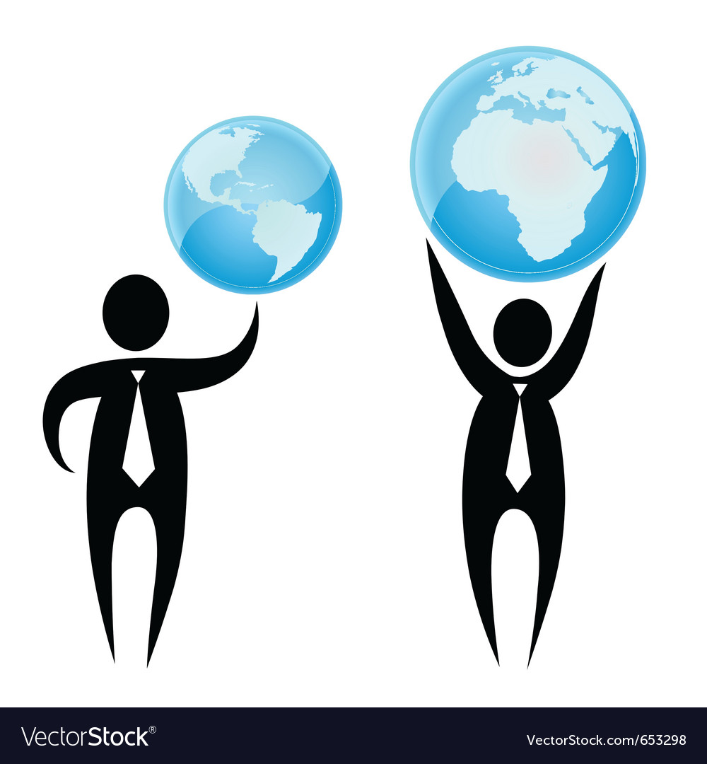 Businessman holding a globe overhead vector image