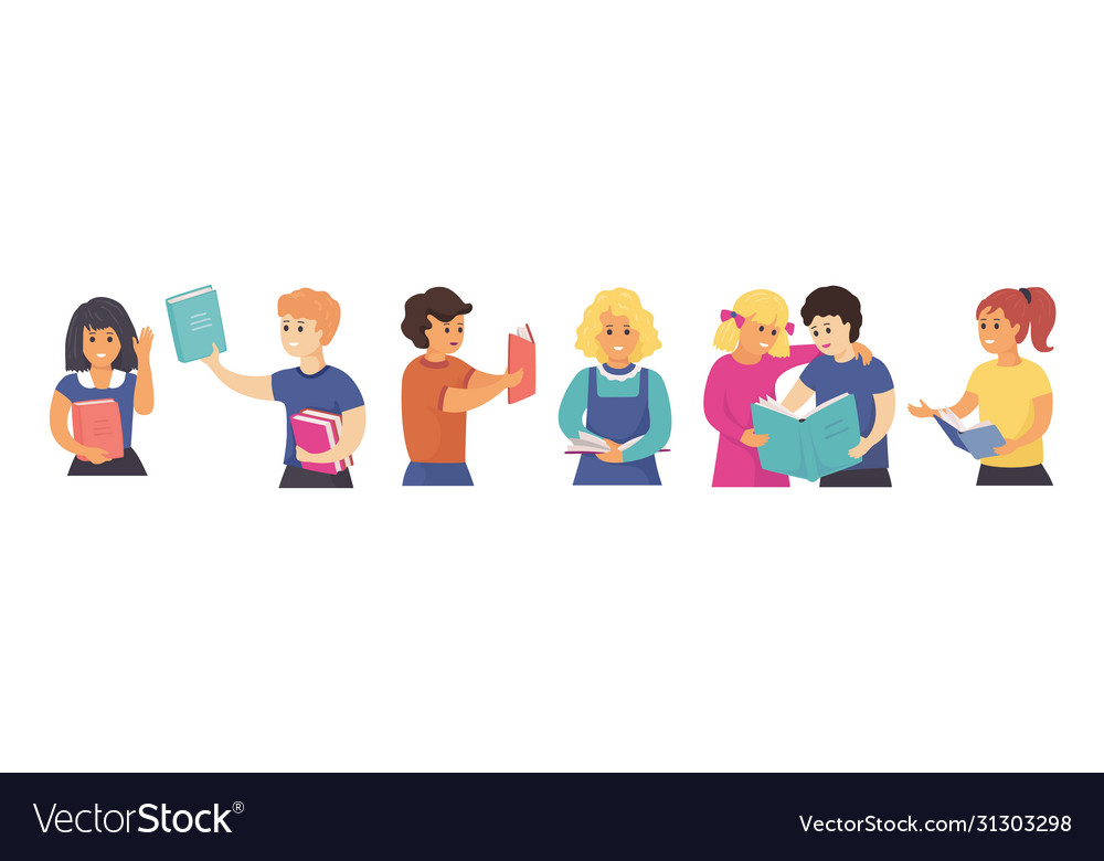 Children reading together hand drawn students and