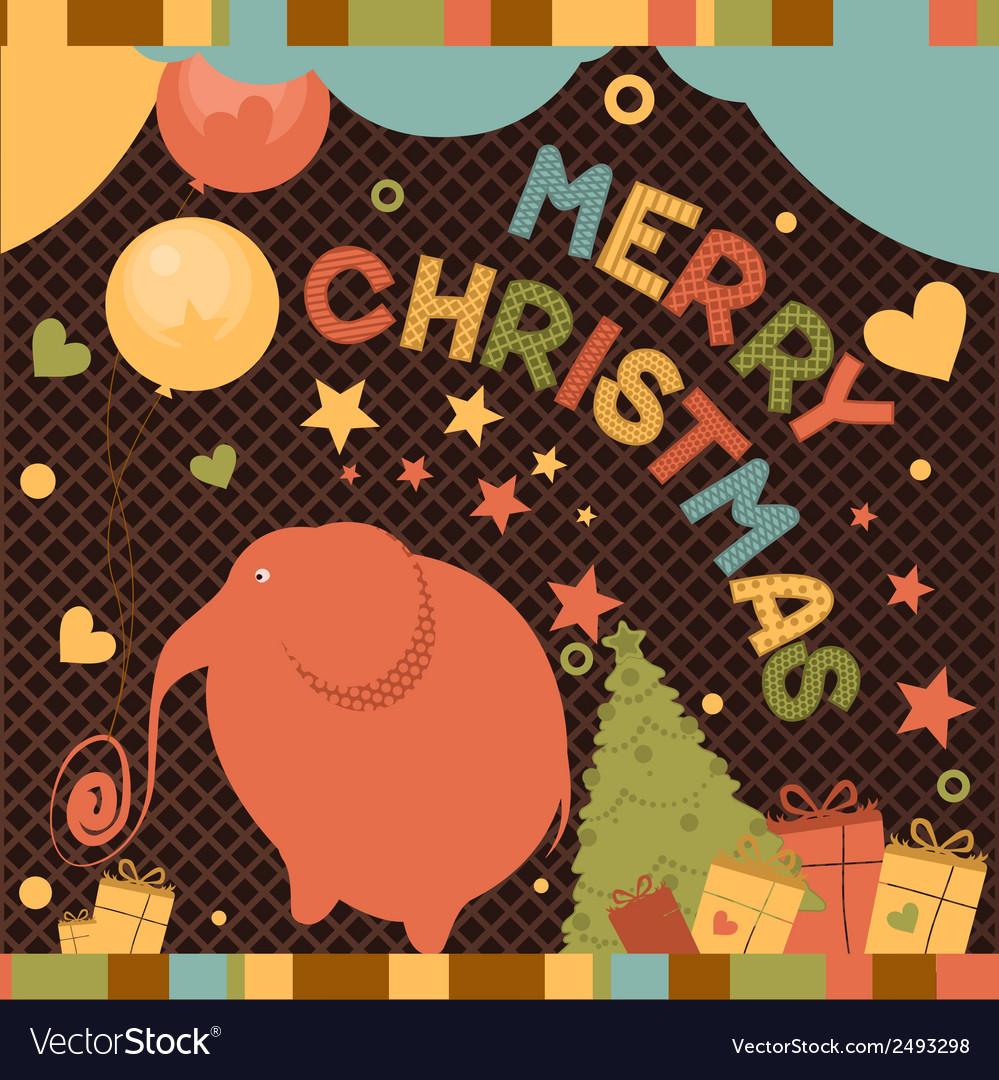 Christmas card with elephant