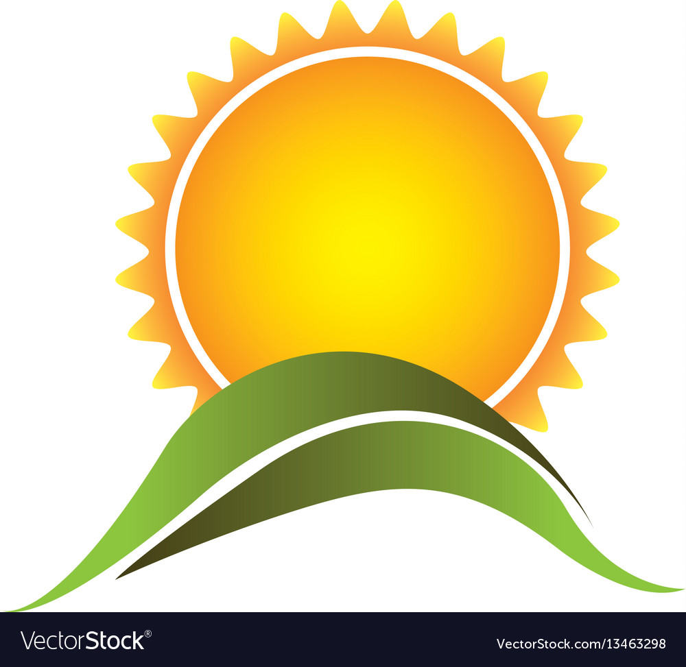 Color abstract sun with mountain icon vector image
