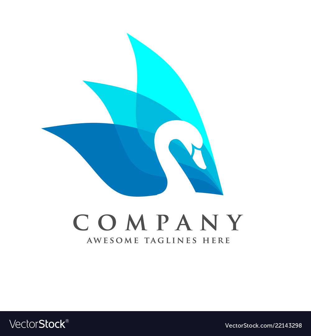 Creative and elegant swan logo bird logo