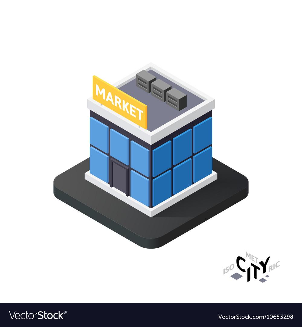Isometric supermarket icon building city