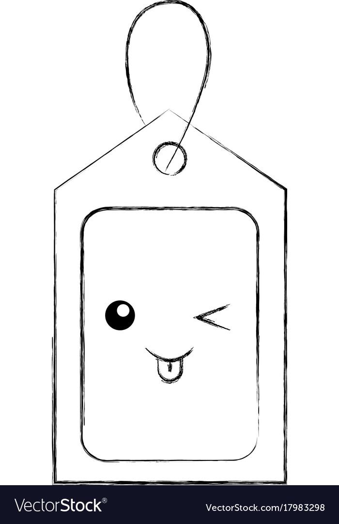 kawaii price tag coupon buy blank market design vector image