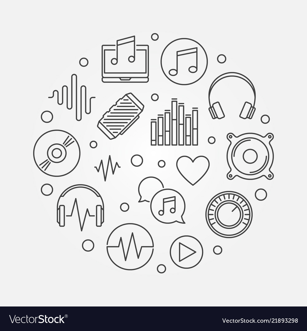 Music icons in circle shape outline