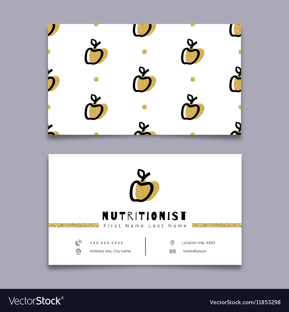 Nutritionist business card dietitian trendy vector image colourmoves