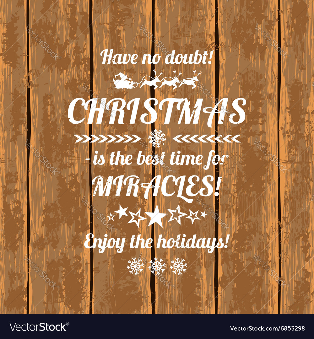 Retro Christmas Greeting Card With Typography Text