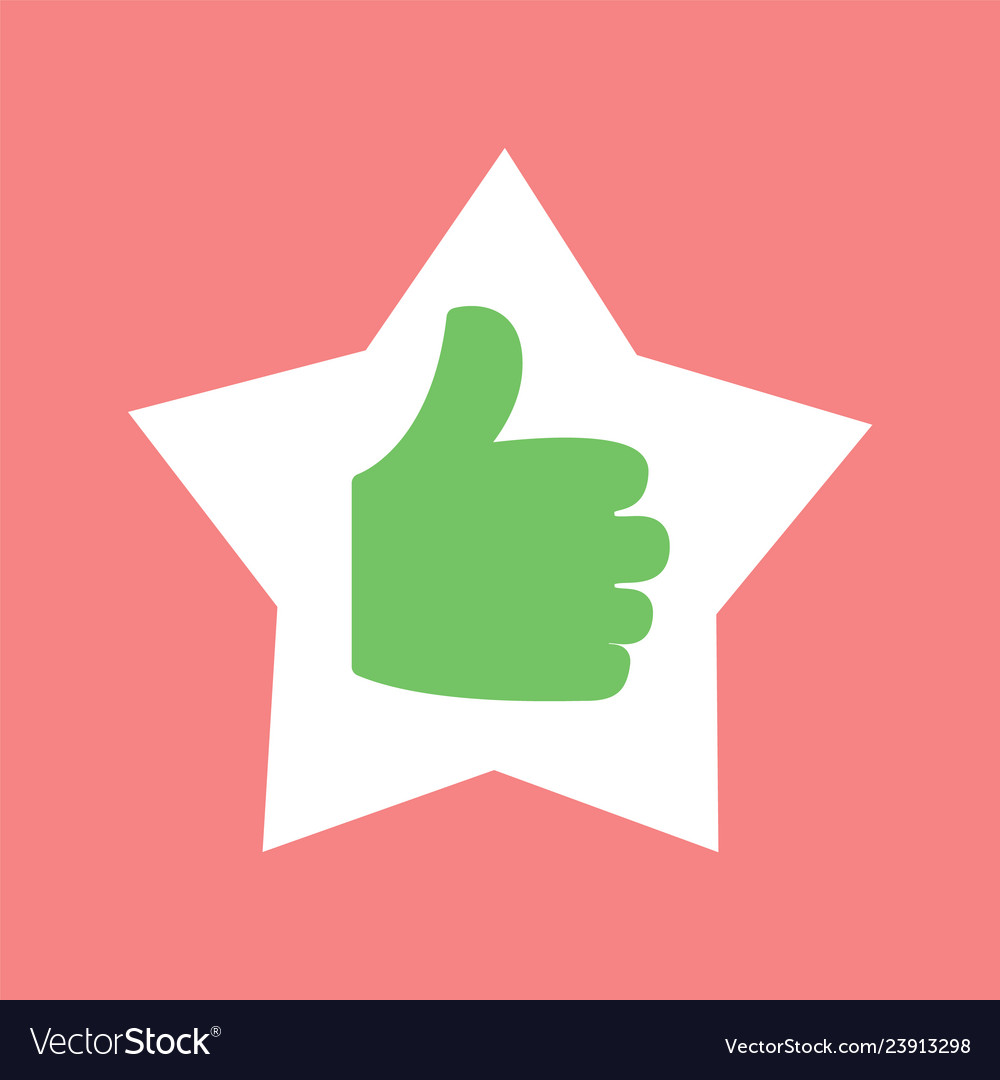 Thumb up in star shaped frame hand isolated icon